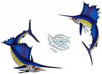 Pool Mosaics - Sport Fish & Shark Mosaics - Artistry in Mosaics - Sailfish Group-Large