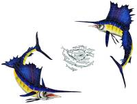 Pool Mosaics - Sport Fish & Shark Mosaics - Artistry in Mosaics - Sailfish Group-Small