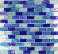 Pool Tile - Glass Pool Tiles - Dark Blue Brick Blend Mix