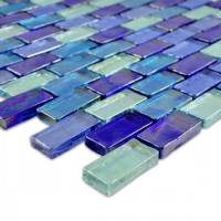 Dark Blue Brick Blend Glass Tile