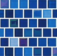 "Pool Tile - Glass Pool Tiles - National Pool Tile - Jules Bright Cobalt Blue Blend 1""x1"""