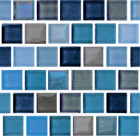 "Pool Tile - Glass Pool Tiles - National Pool Tile - Rustic Blue Blend Glass 1""x1"""