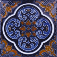 "Pool Tile - 6""x6"" Pool Tiles - National Pool Tile - Casablanca Cobalt Rust Deco"