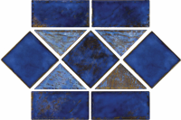 "Pool Tile - Trim,Accents&Mosaic Patterns - National Pool Tile - Martinique Royal Blue Border 6""x12"" Pattern"